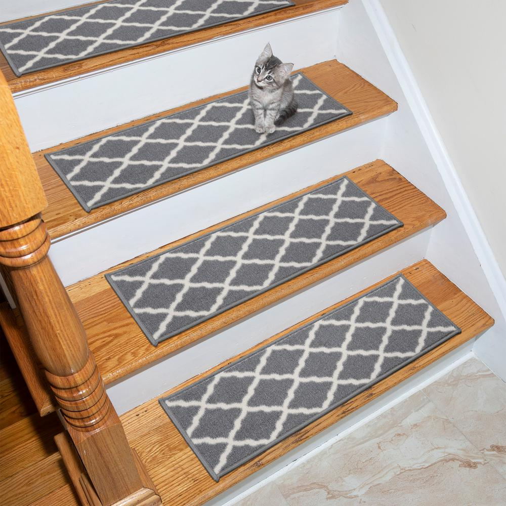 Ottomanson Glamour Collection Gray 9 In X 26 In Polypropylene Stair Tread Cover Set Of 13 Pnk7023 13pk Stair Tread Covers Trellis Design Stair Treads