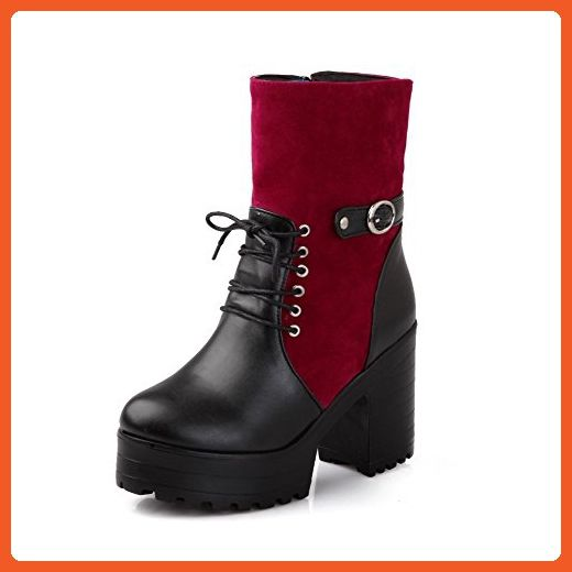 Womens Closed Round Toe High Heel PU Short Plush Assorted Colors Boots with Zipper