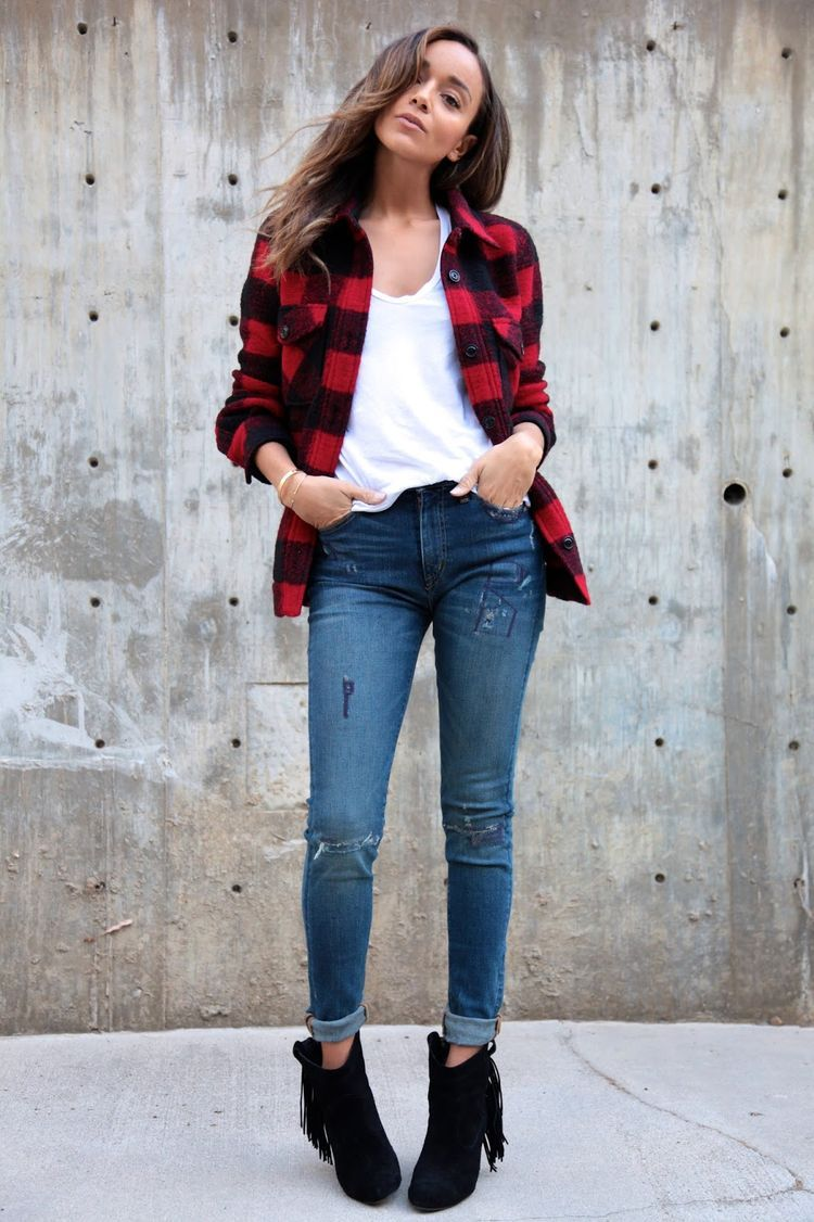 Ripped jeans flannel shirt  Fall fashion with Macyus Ring My Bell  Ralph lauren boots and
