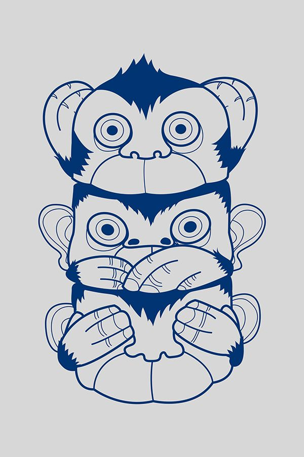 sketch of hear no evil see no evil speak no evil monkeys