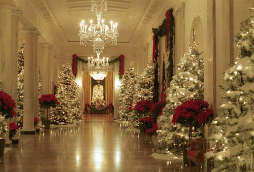 Merry Christmas and happy holidays to everyone! Photo: Holiday decorations in the Cross Hall of the White House.  December, 1990.