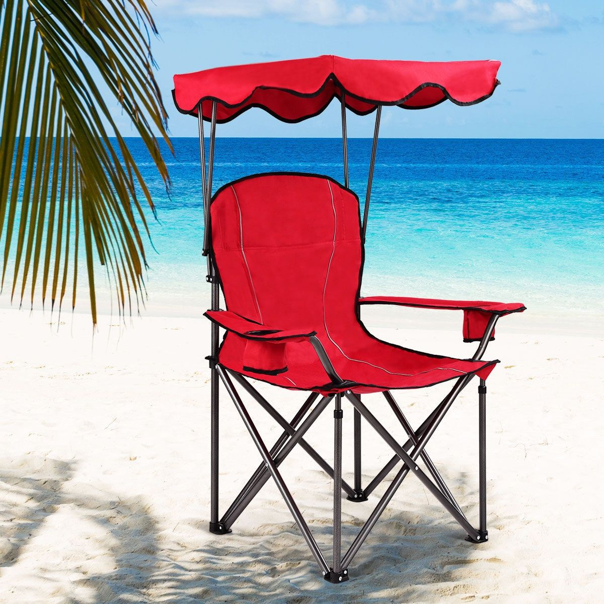 Portable Folding Beach Canopy Chair with Cup Holders in