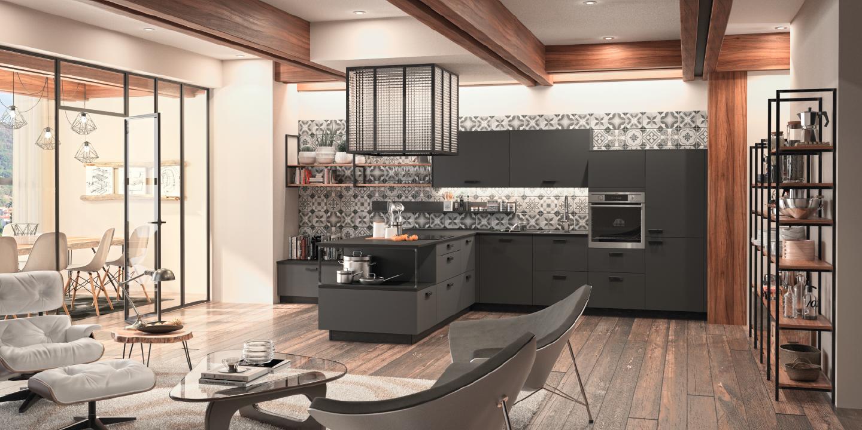 Cuisine Chaleureuse Avec Ilot cuisine contemporaine type industriel noire mat et bois