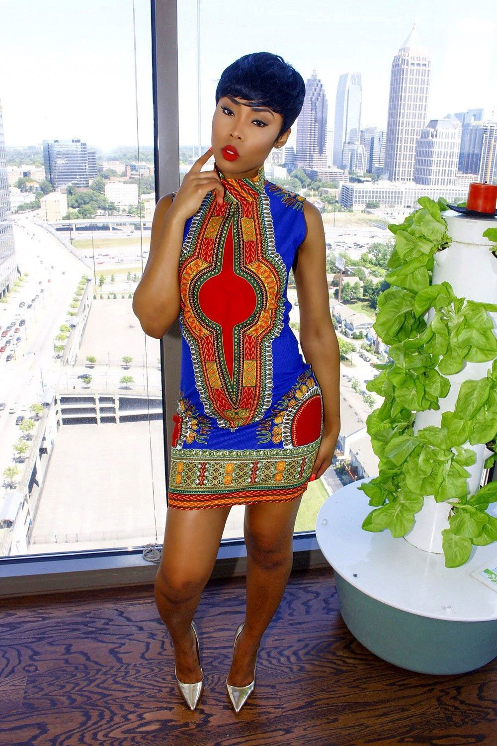 2016 New Women Summer Dashiki Dress Y Sleeveless Traditional African Print