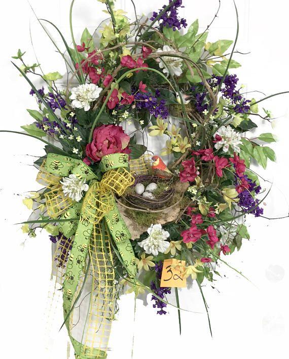 Summer Outdoor Wreaths, Mixed Floral Wreath, Large Spring Wreath, Summer  Wreath Ideas,