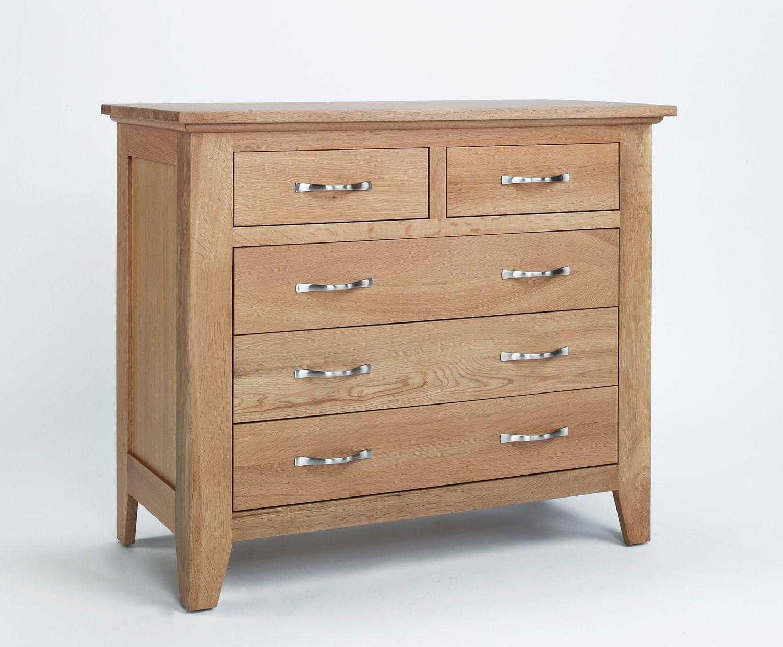 Sherwood Oak 2 Over 3 Drawer Chest Bedroom Solidwood Furniture