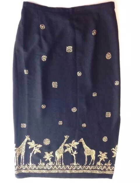 Alfred Dunner Womens Skirt Long 14 Black Animals Safari Africa Jungle Brown  | eBay