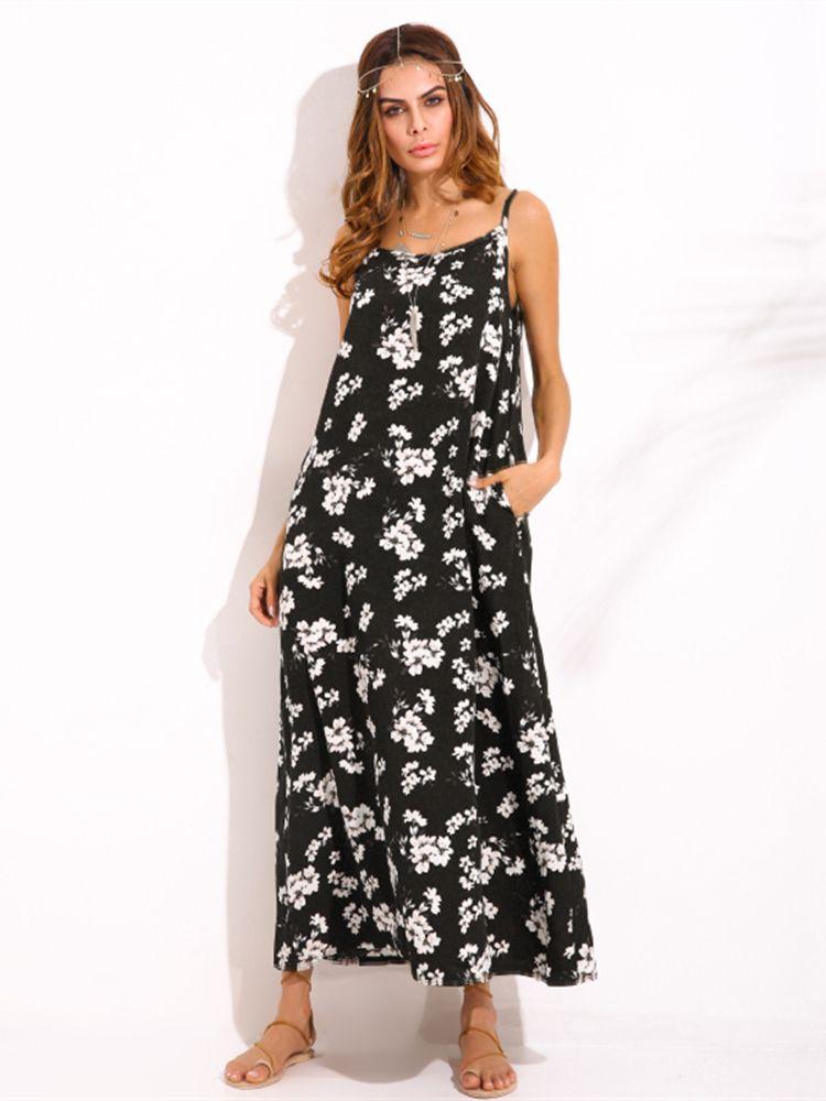 b6f97e8fa35bec Gracila Bohemian Sleeveless Spaghetti Strap Floral Print Maxi Dresses