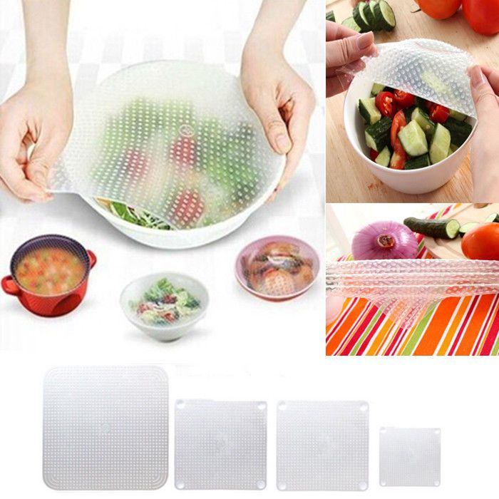 4pcs Silicone Wraps Seal Cover Stretch Cling Film Food Fresh Keep Kitchen Tools #100BrandNewGoodQuality