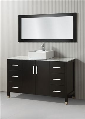 Item#   Single Sink Bath Vanity Cabinet With Solid Slab White/Grey Marble  Top, 16 Inch Top Mount White Vessel Sink, Two Doors With Soft Close Hinges,  ...