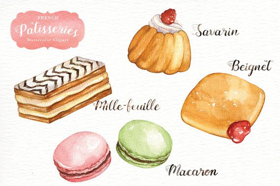French Patisseries Watercolor Clipart Watercolor Menu Sweet