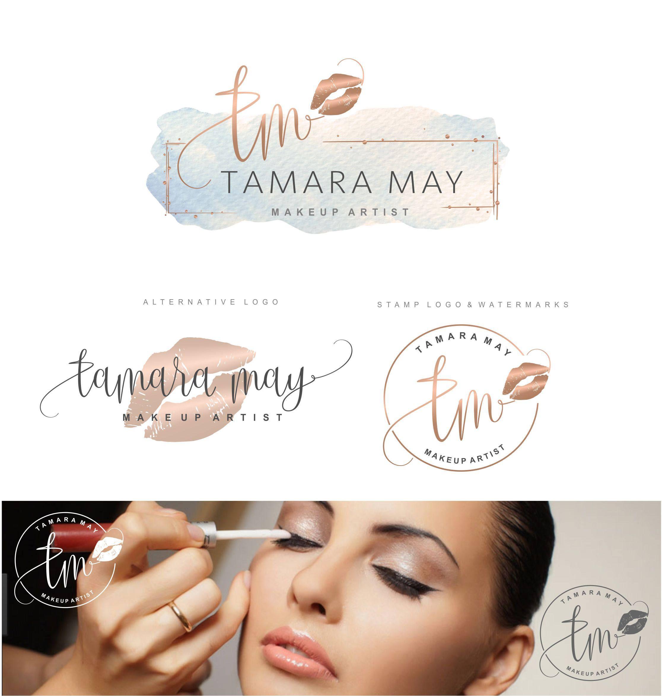 Makeup Logo Design Lips Logo Design Rose Gold Branding Kit Make Up Branding Package Boutique Logo Lip Sense Logo Watermark Lips Kit 56 Makeup Logo Design Makeup Logo Lip Logo