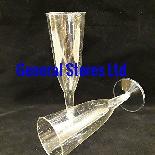 25 X Clear Silver Glitter Plastic Champagne Glasses Flutes 2p