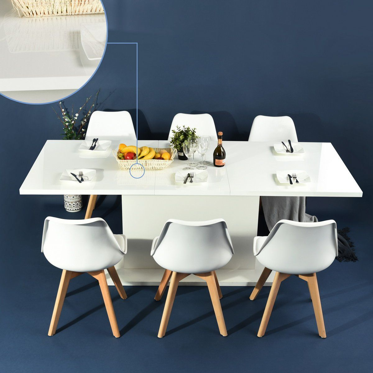 High Gloss White Extendable Rectangular Dining Table Mltifunction E Saving Wood