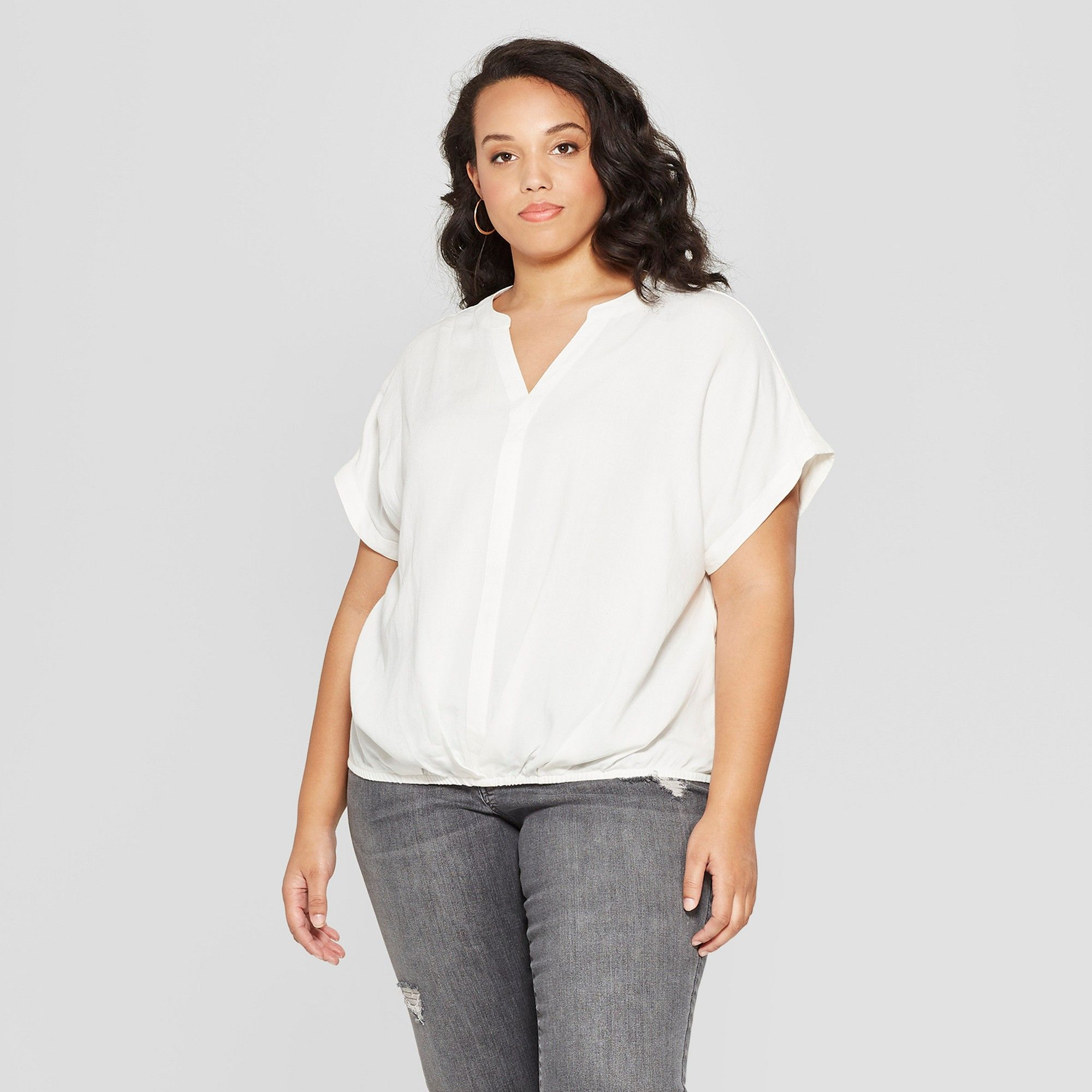 234b086b5f3a53 Women's Plus Size Short Sleeve Twist Front Top - Universal Thread White 1X