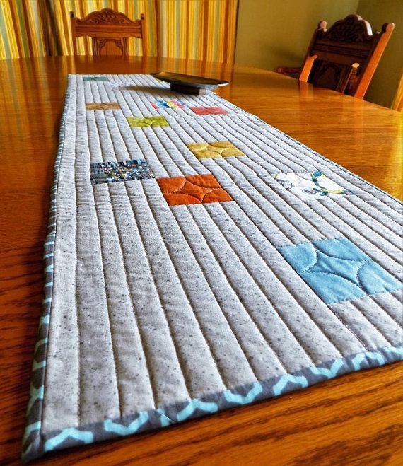 This Modern Table Runner Began Life As Some Quilting Cotton Fabric Samples I Had In Mottled