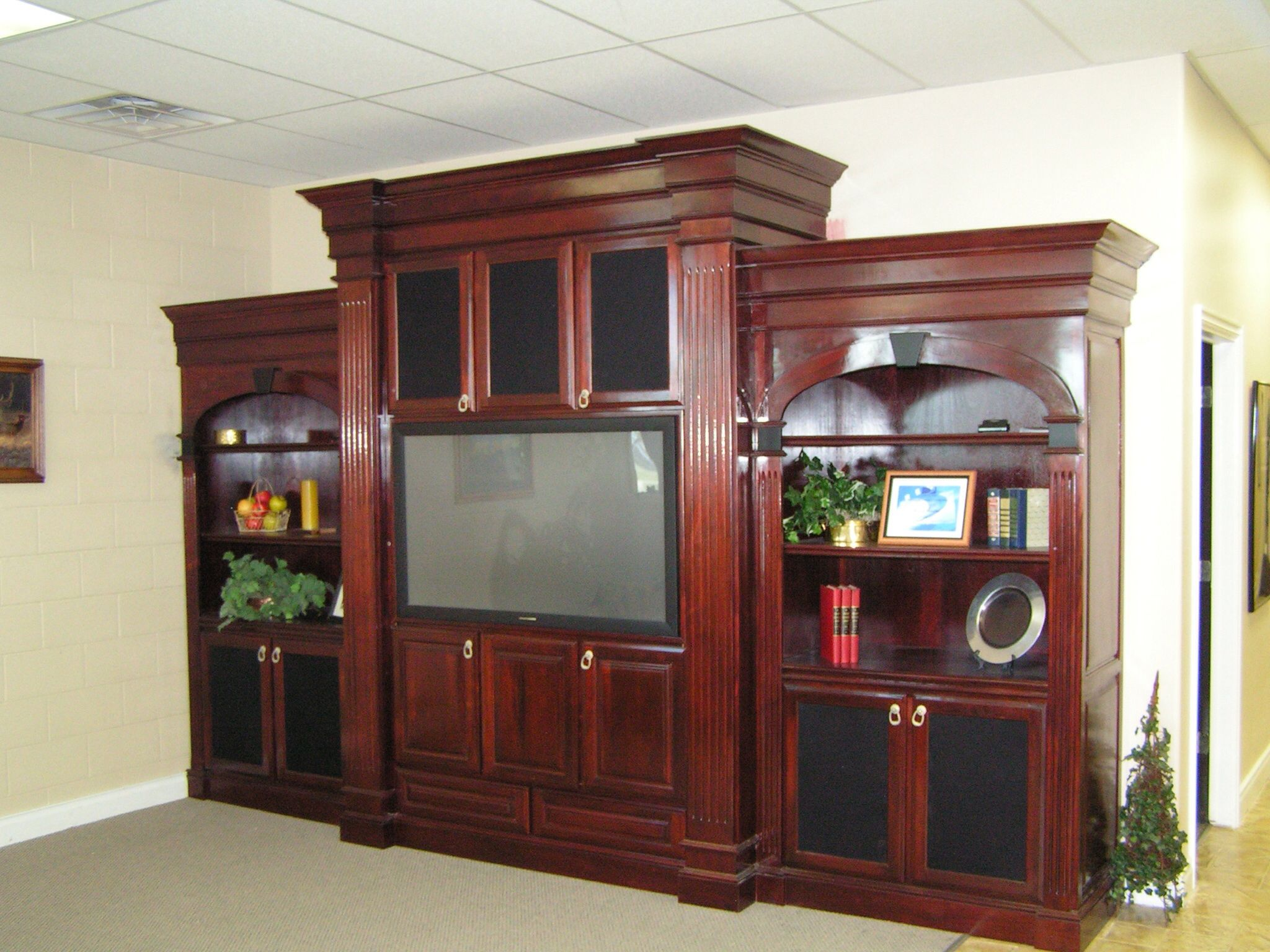 Mahogany Entertainment Center Concrete Stained Floors Stained