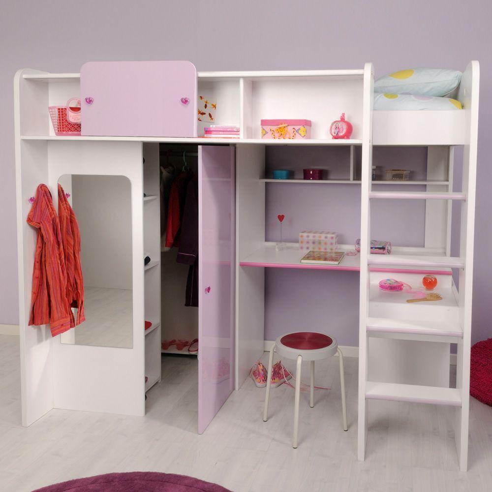 Jugend mädchenzimmer mit begehbaren kleiderschrank  Mädchenzimmer Hochbett weiß lila Jasmina | Kinderbetten ...