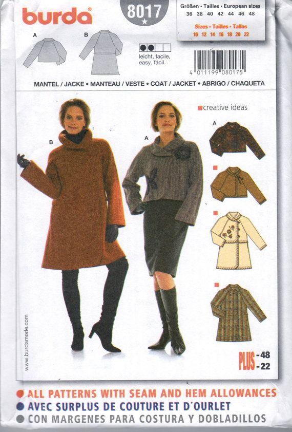 Burda 8017 Misses Asymmetrical Flared Coat Or Jacket Pattern