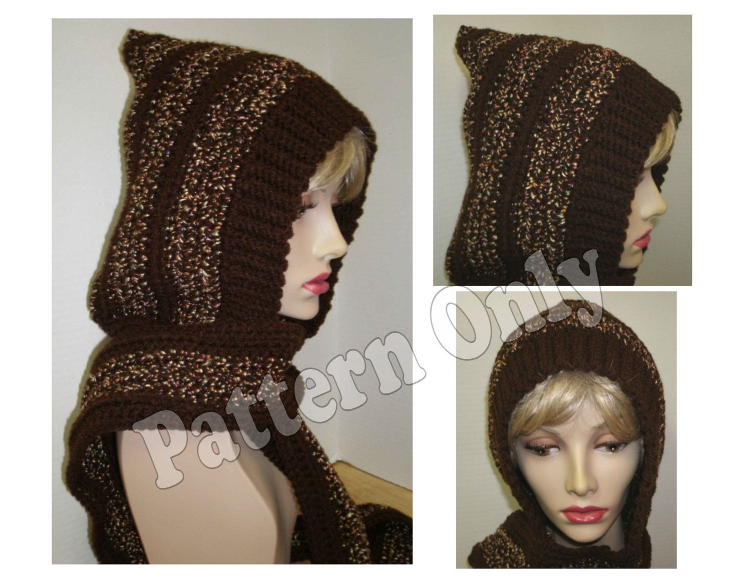 Crochet Pattern - Adult Size Skoodie - Hood with Attached Scarf ...