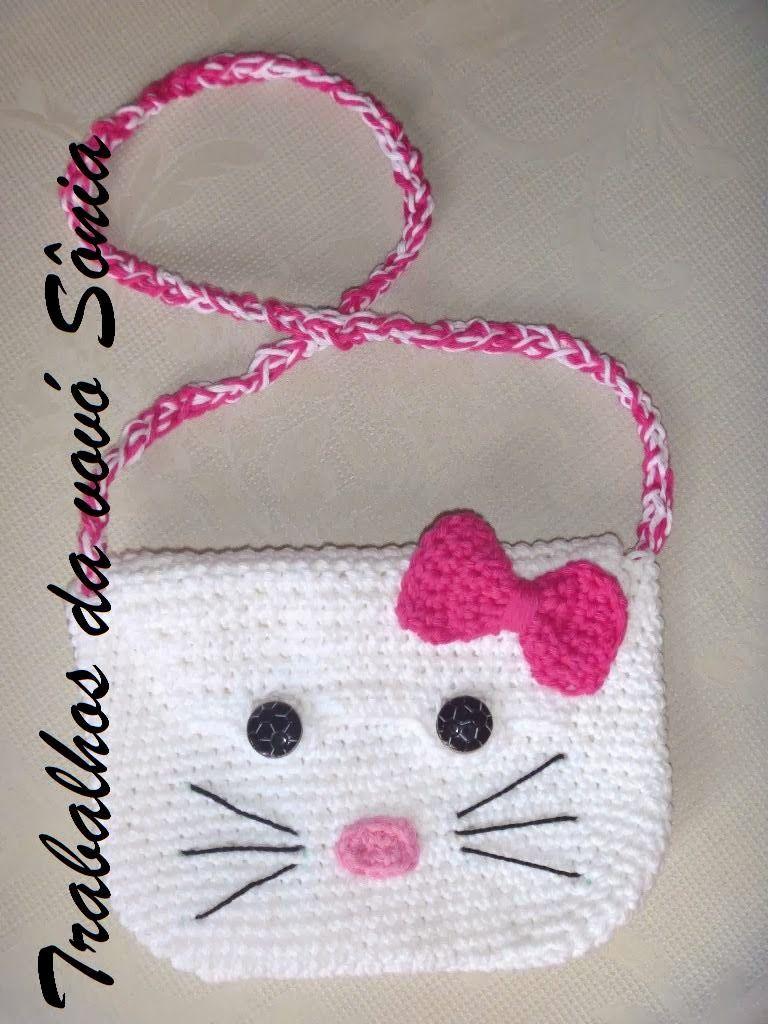 Trabalhos da vovó Sônia: Bolsa infantil Hello Kitty - croché ...