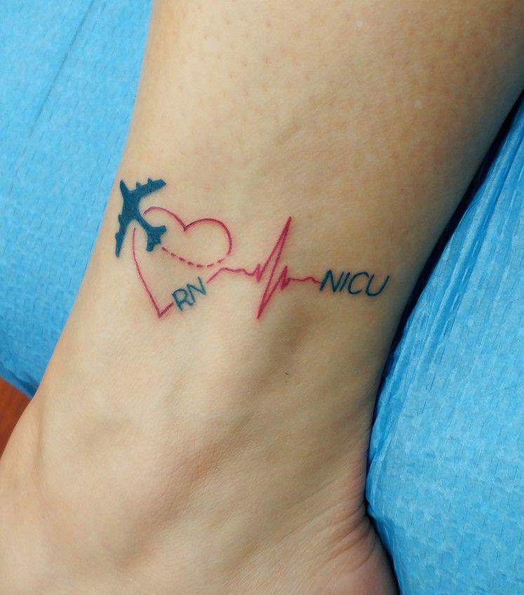 Travel Nurse Tattoo Heart Plane Rn Nicu Heartbeat Nurse