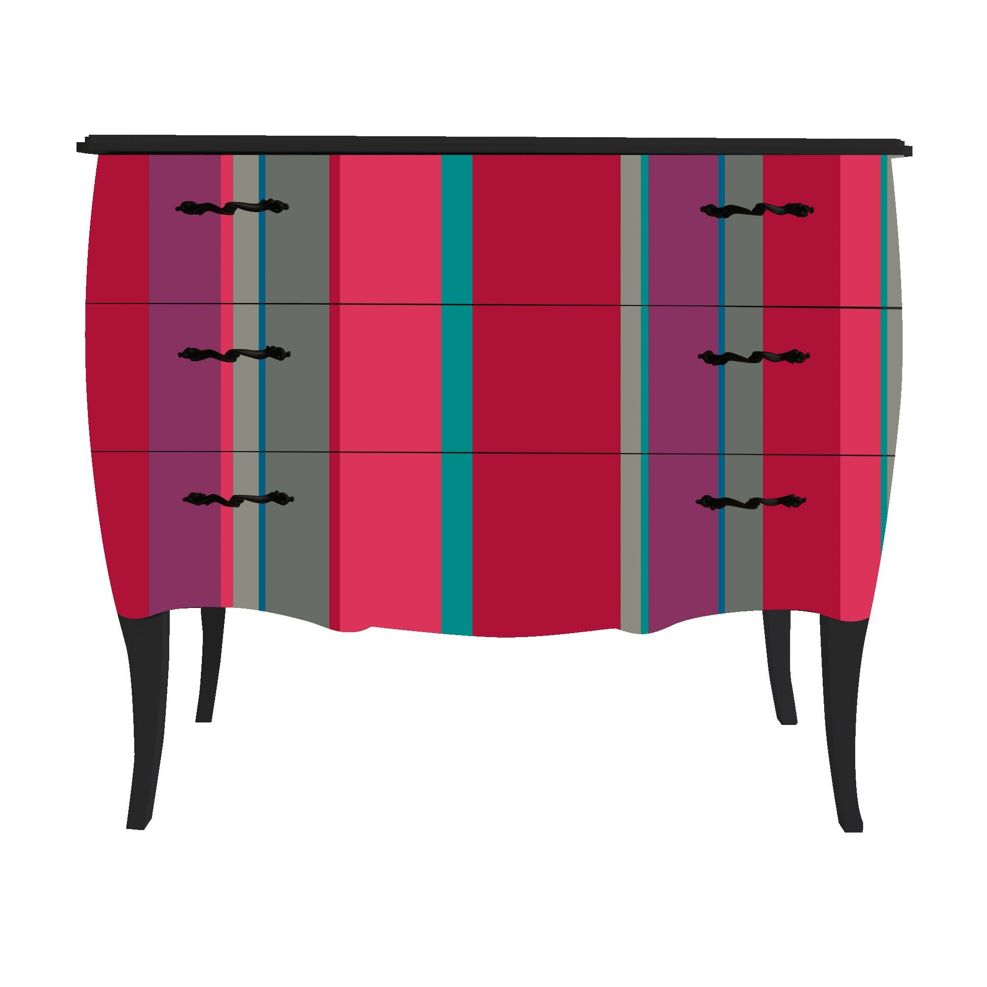 petite commode 3 tiroirs imprim rayures verticales noir print baroque color stripes. Black Bedroom Furniture Sets. Home Design Ideas