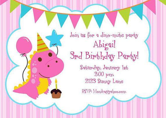 Cute Pink Dinosaur Birthday Invitations – Invitations for Birthdays