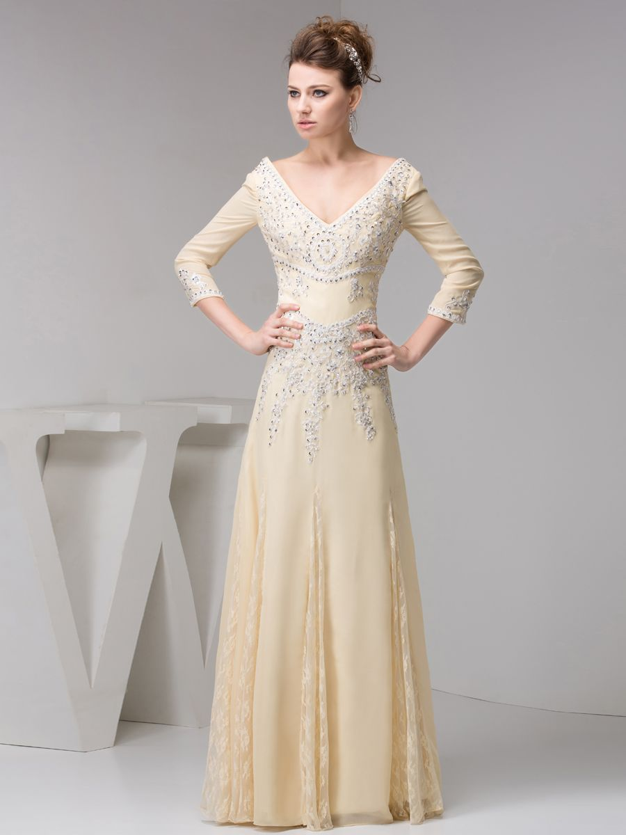 Sequined Three Quarter Sleeves Evening Dress with Lace Godet Detail Brands:AmarantaFreeship:YESModel Name:NinaTailoring Time (Standard):15-20 DaysTailoring Time (Rush Order):10-15 DaysSilhouette:A-LineNeckline:V-neckSleeve Style:Three-quarter…