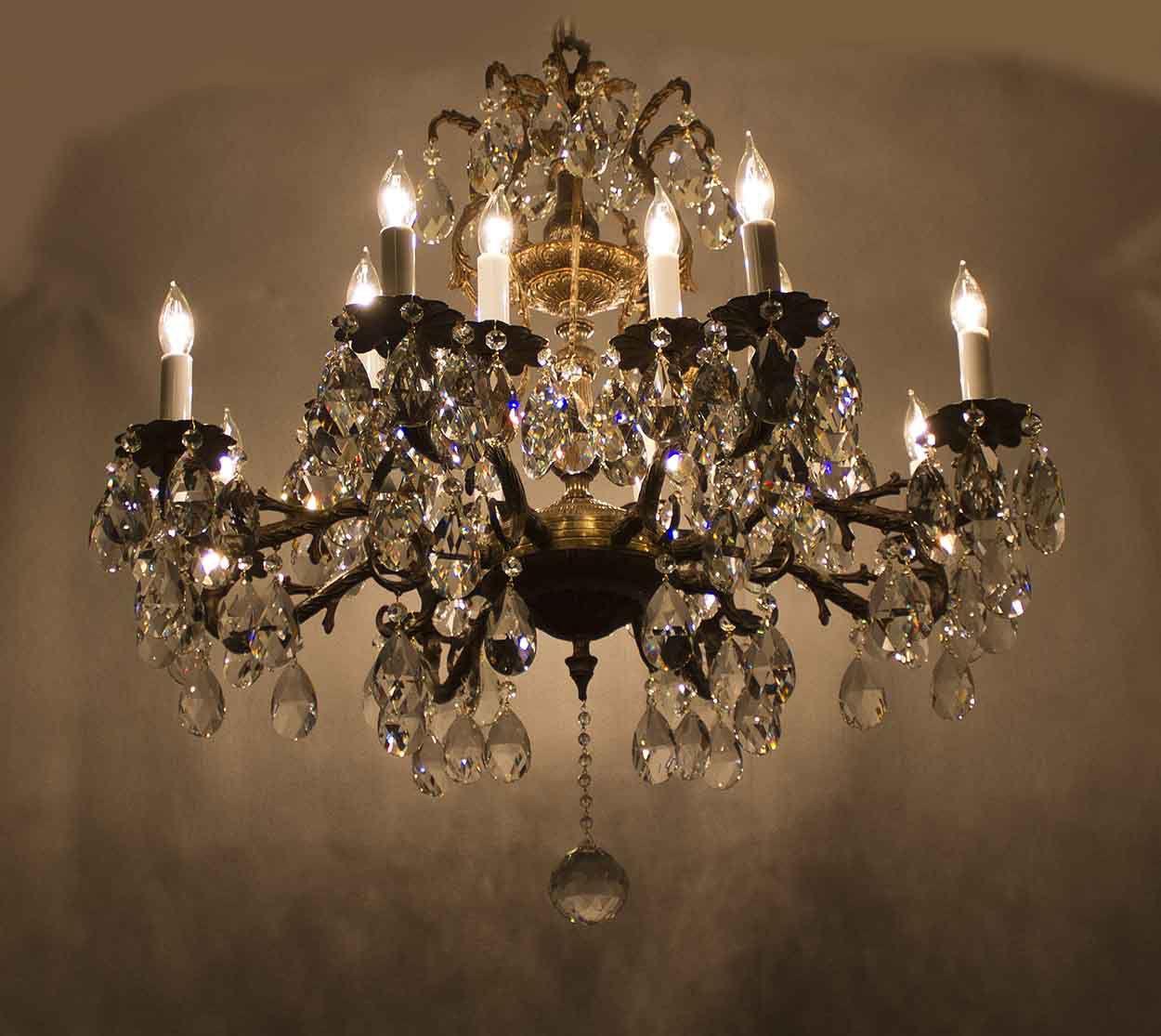 Refurbished 1940 S Antique Chandelier By Crystal Prism World