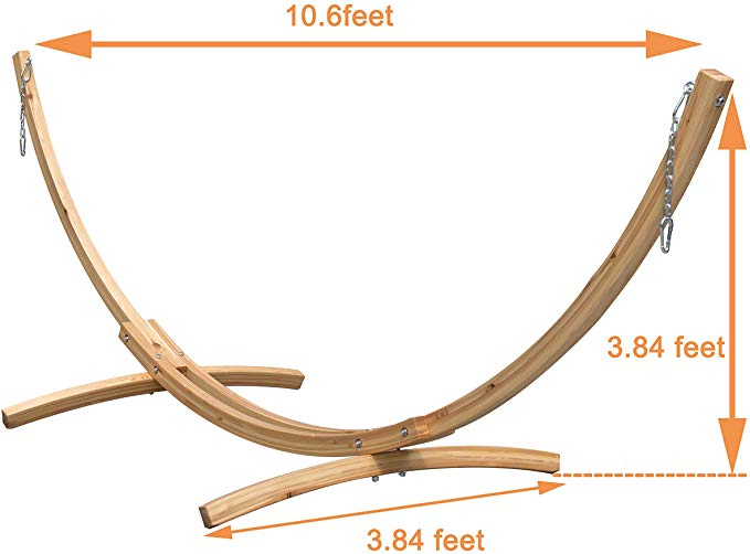 Lazy Daze Hammocks 10 Foot Russian Pine Hardwood Arc Frame Hammock Stand With Hooks And Chains Garden Outdoor In 2020 Hammock Stand Hammock Outdoor Gardens