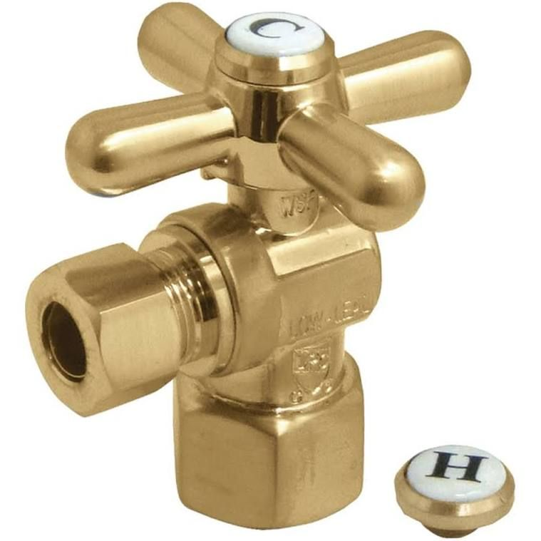 Kingston Brass Cc43107x Traditional Quarter Turn Valves 0 5 Fip X 0 38 In O D Compression Satin Brass Google E Faucet Parts Kingston Brass Faucet Handles