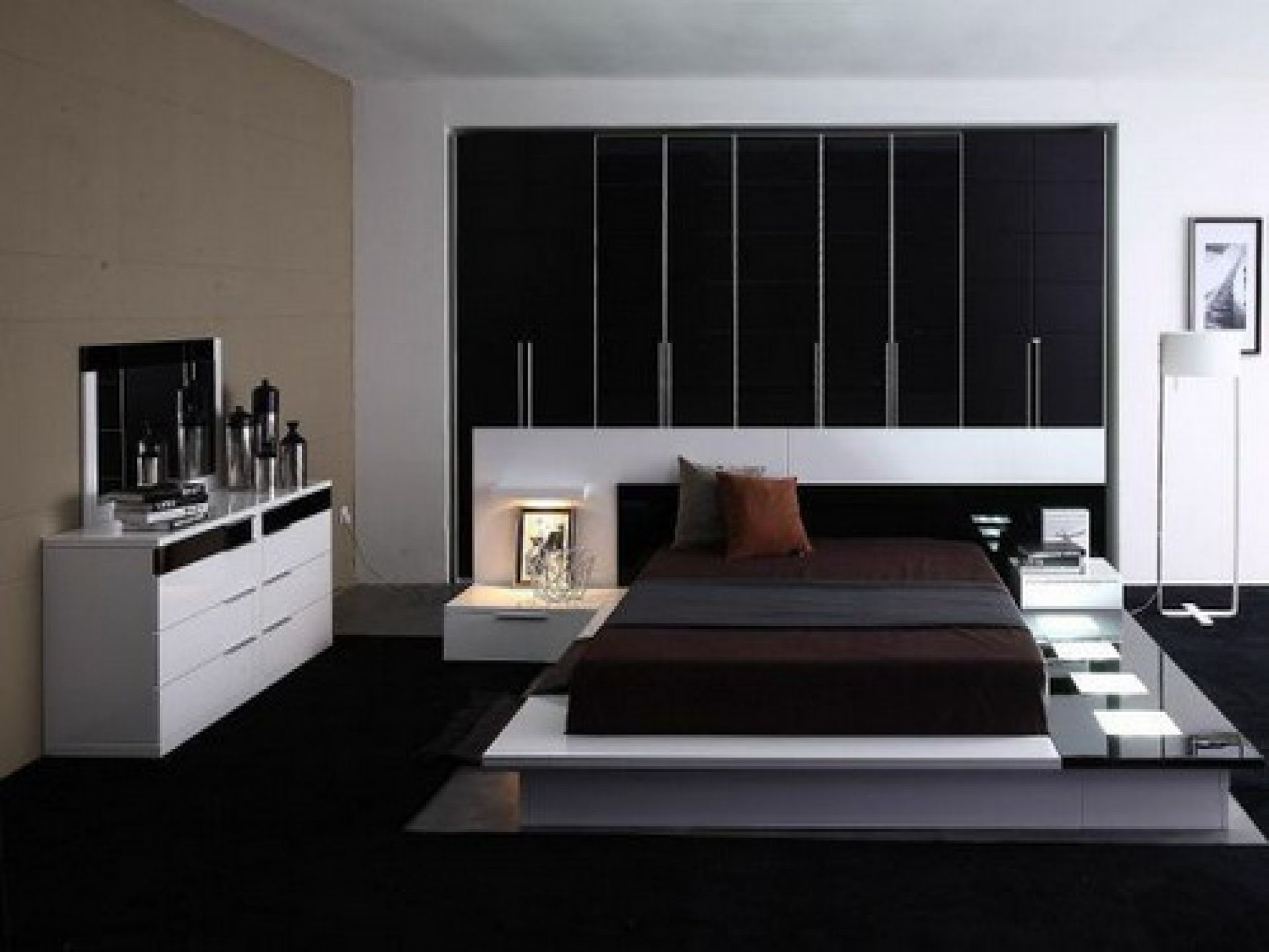 contemporary white gloss dresser bedroom cabinets as well as black cover low profile master bed frames - Bedrooms Design Ideas