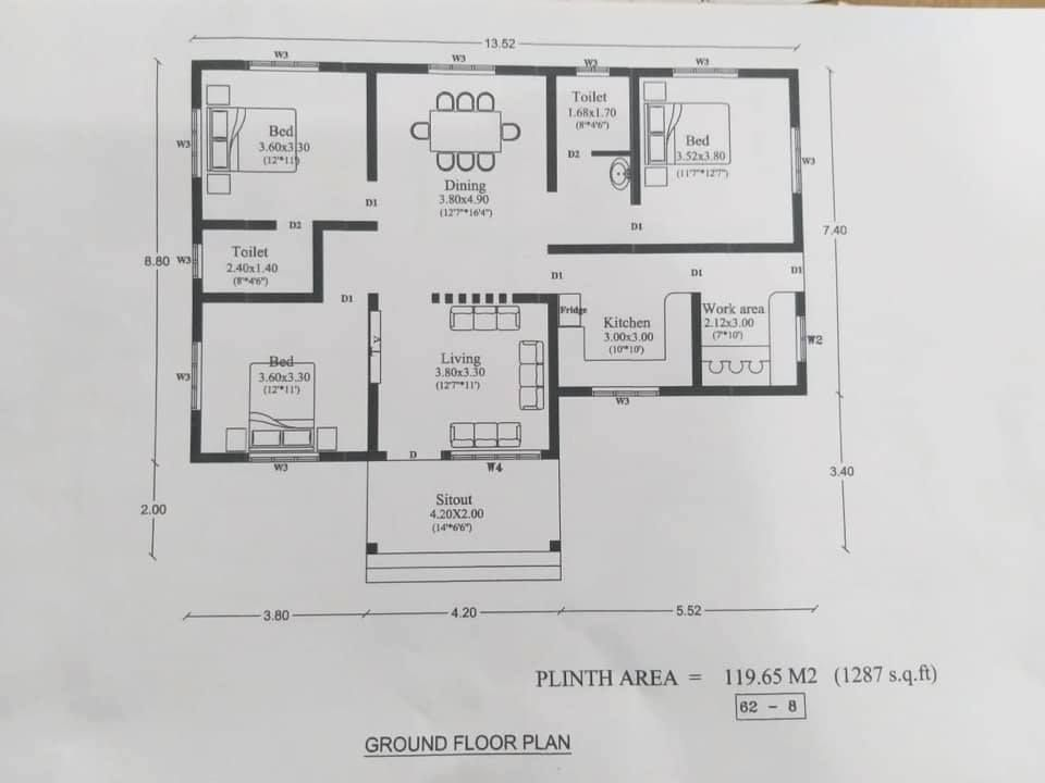 3 Bedroom Budget Home Design With Free Home Plan Free Kerala Home Plans Free House Plans Flat Roof House Designs Small Modern House Plans