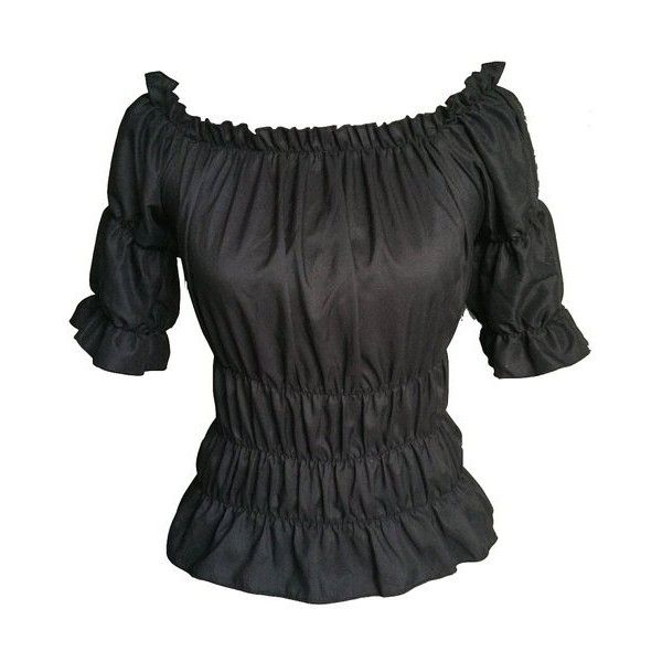 Black Gothic Peasant Gypsy Medieval Pirate Off Shoulder Wench Top... ($22) ❤ liked on Polyvore featuring tops, blouses, shirts, off the shoulder tops, off the shoulder shirts, off the shoulder peasant blouse, off the shoulder blouse and shirt blouse