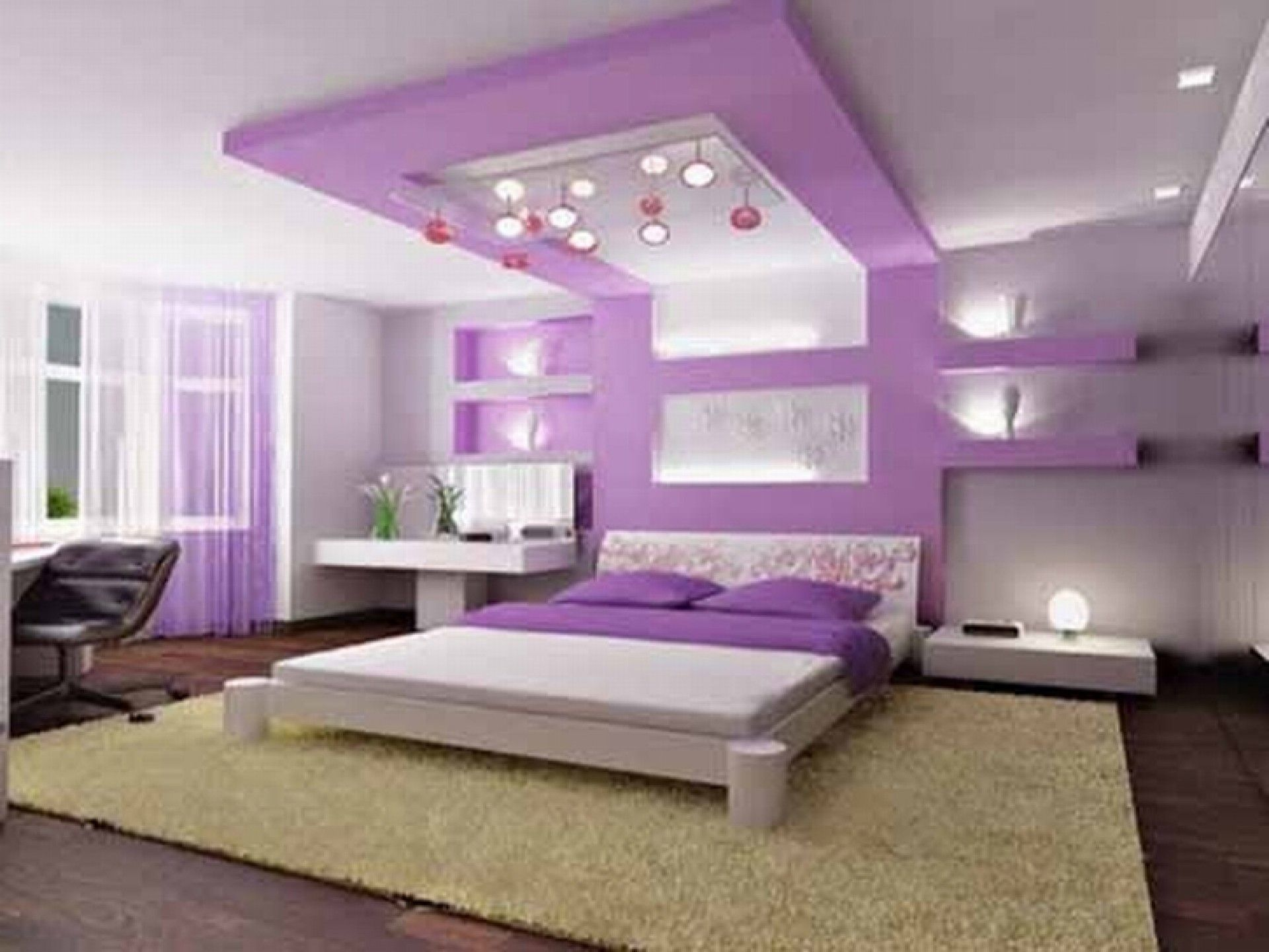 Luxury bedrooms for teenage girls - Simple Interior Design For The Bedroom For Girls With Purple Bedroom Interior Design For Girls Plus White Lighting And Black Swivel Chair
