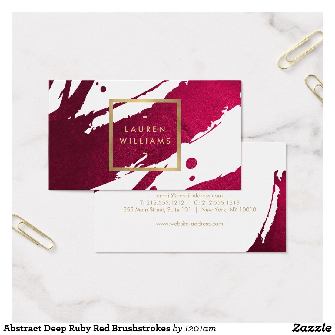 Abstract Deep Ruby Red Brushstrokes Business Card Ruby Red