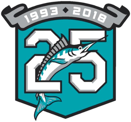 Miami Marlins Anniversary Logo 2018 25th Anniversary Logo For The Florida Marlins Miami Marlins Franchise Worn As Miami Marlins Marlins Anniversary Logo
