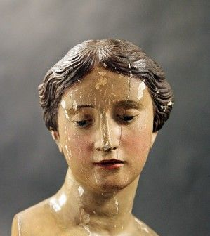 18th Century Italian Carved Wood Polychrome Female Head