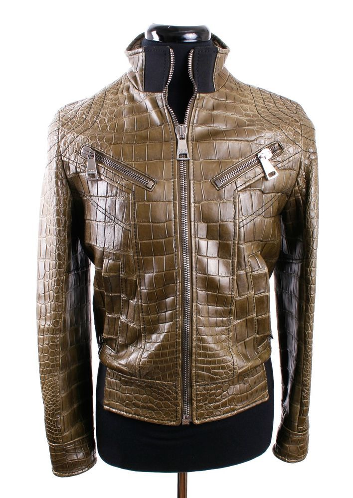 7817b4350 DOLCE & GABBANA Olive Green Crocodile Leather Jacket, 1 of 4 Made ...