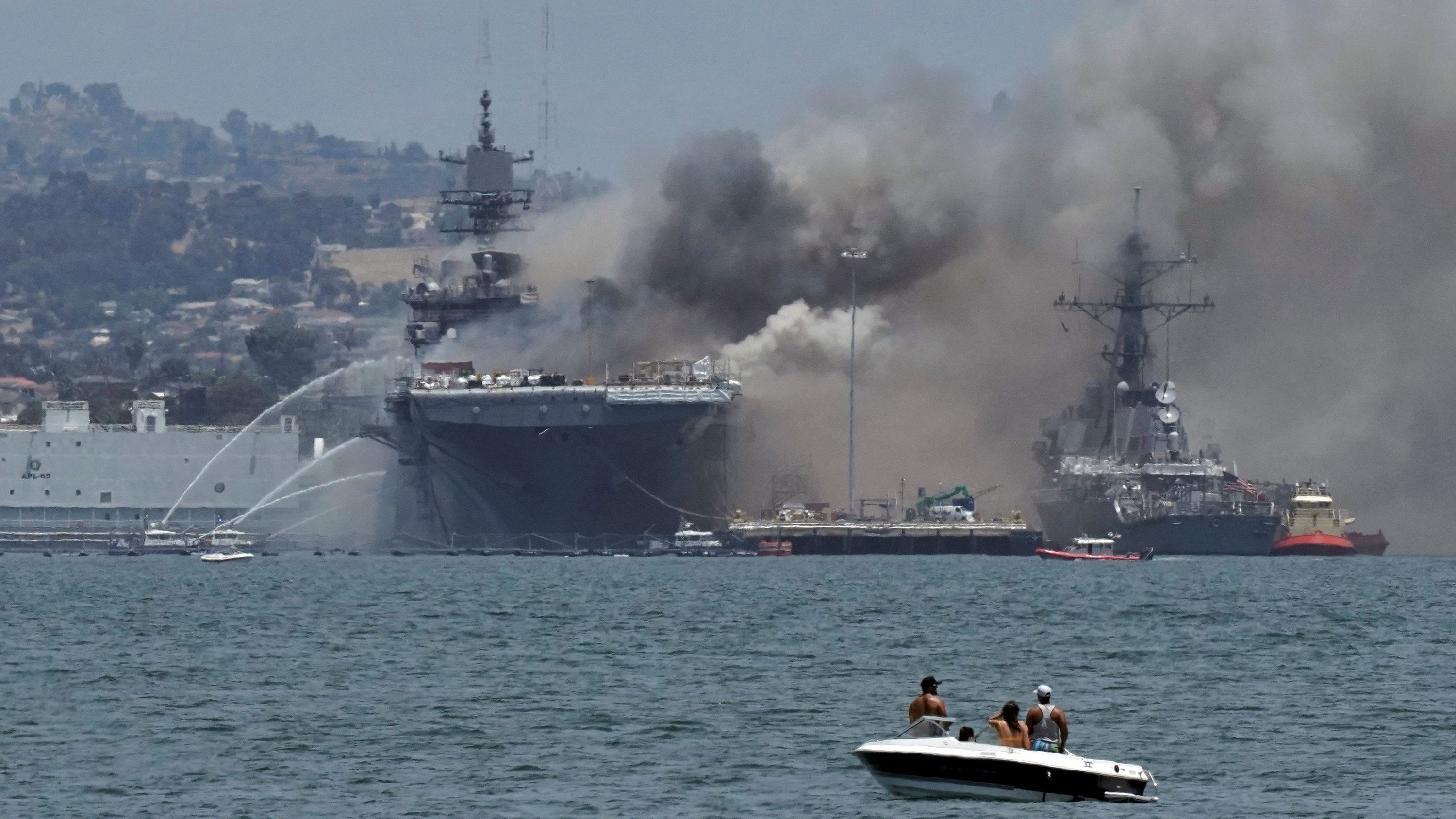 Navy Ship Continues to Burn Off San Diego After Fire