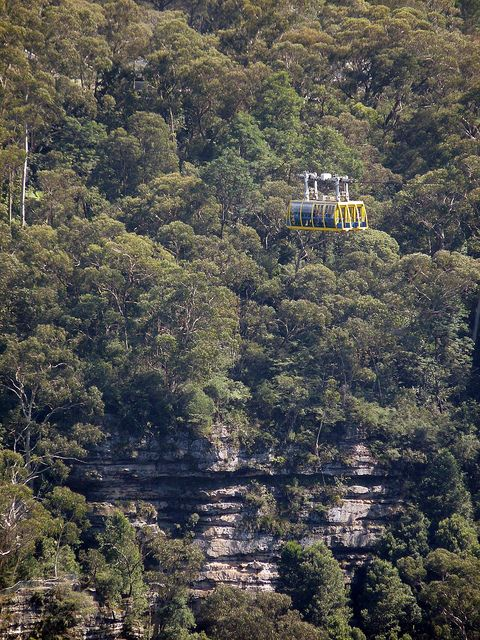 "Above an arm of the Jamison Valley, the ""Scenic Skyway"" is one of the attractions at Katoomba's ""Scenic World"" (Blue Mountains, Australia)"