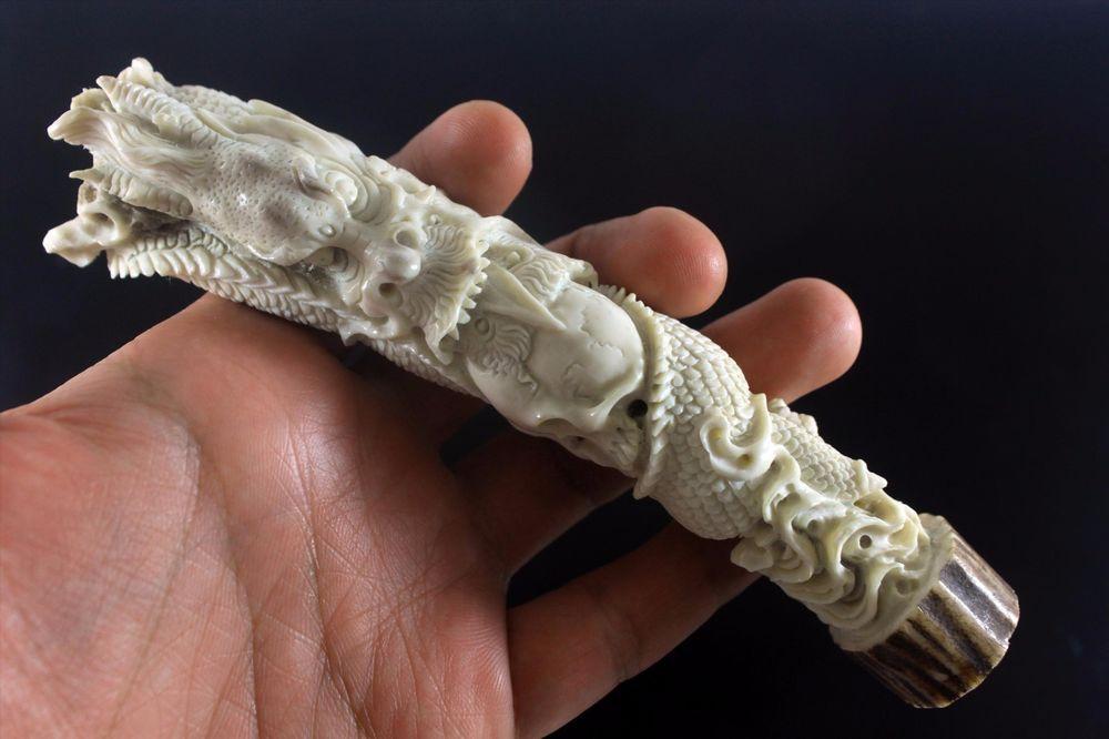 Dragon And Skull Carved Knife Handle 150mm In Deer Antler