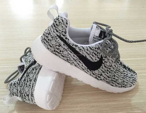 Custom Nike Roshe run Yeezy Oreo black white by Soleattitudes ... 1e8ea28fb