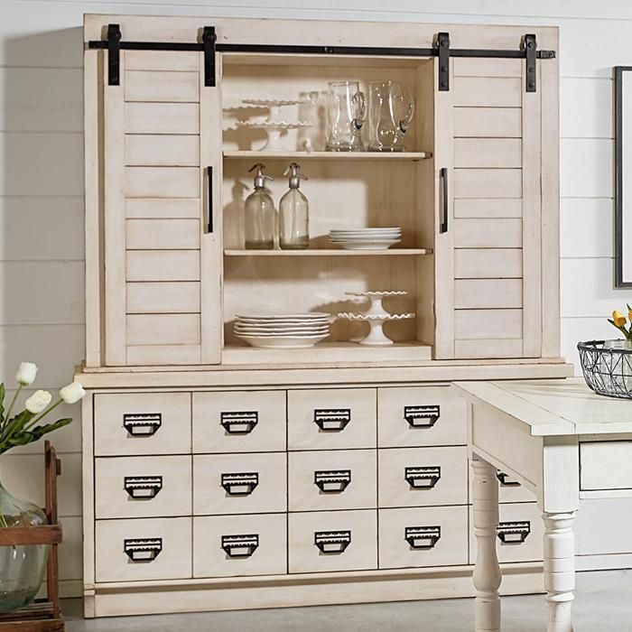 Farmhouse Archive Hutch And Buffet In Antique White