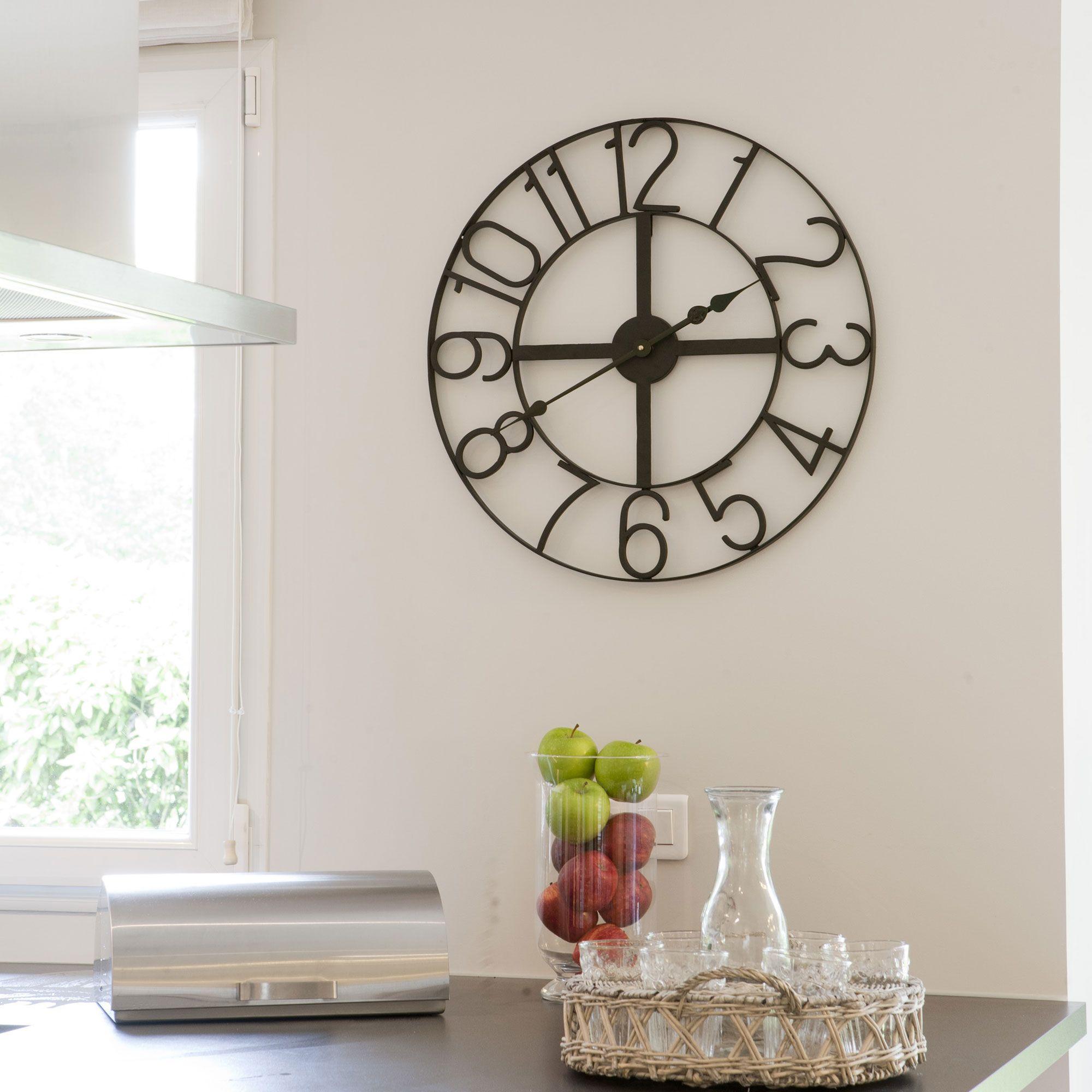 cheap horloge murale en mtal noir with stickers muraux. Black Bedroom Furniture Sets. Home Design Ideas