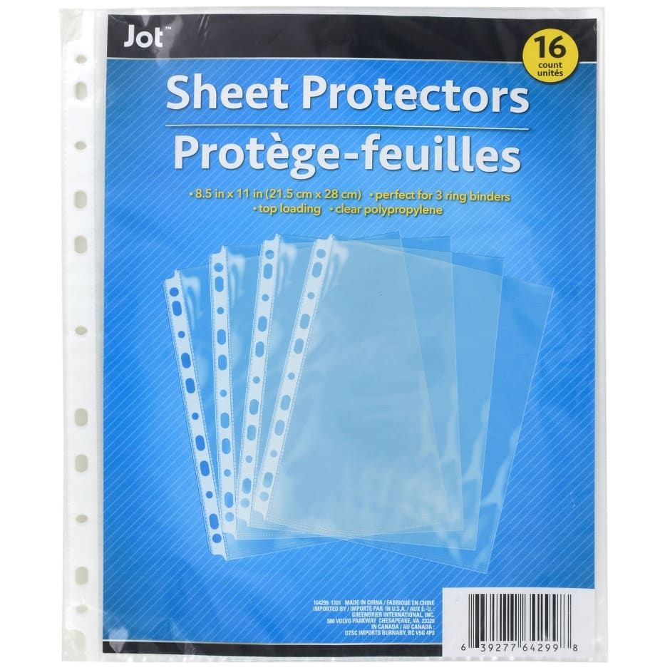 Jot 11 Hole Clear Plastic Sheet Protectors 16 Ct Packs Clear Plastic Sheets Sheet Protectors Plastic Sheets