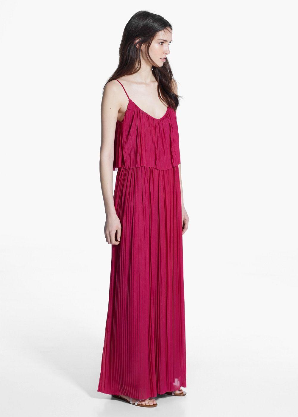 4083129b8322f Long pleated dress Robe Longue Mango, Sac, Doublure, Bretelles, Femme