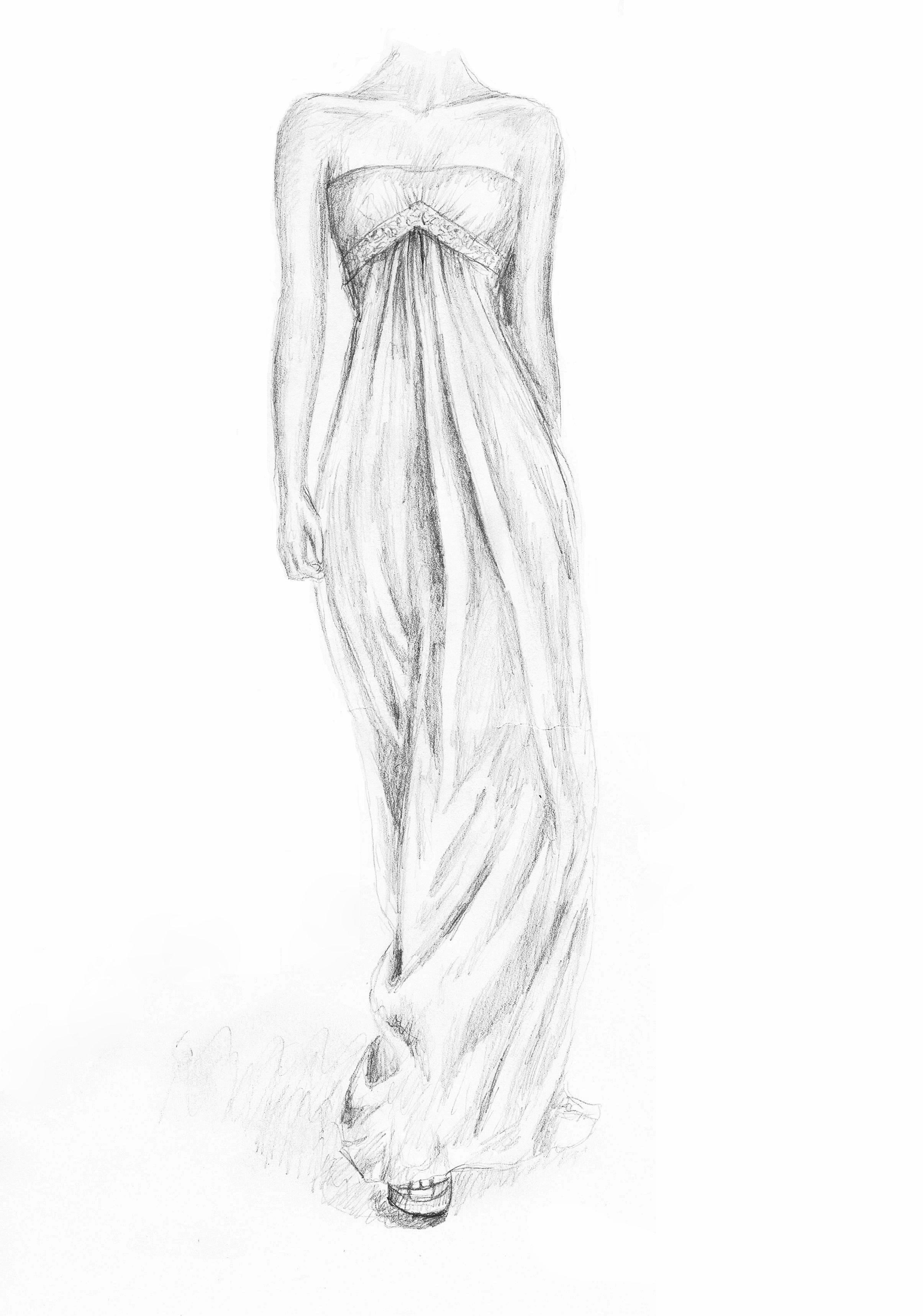 White dress drawing -  Drawing Chiffon Dress