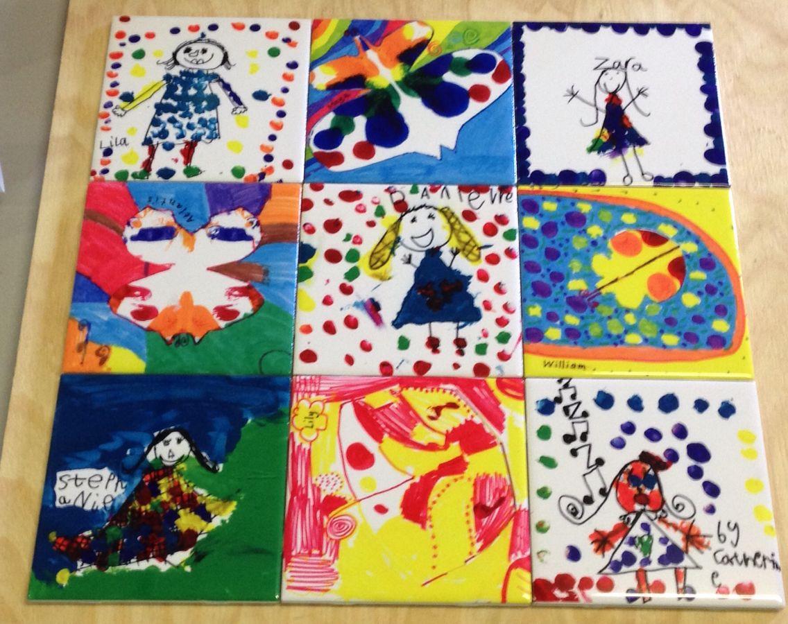 Kids art on 15x15cm ceramic tiles gloss finish small section of a kids art on 15x15cm ceramic tiles gloss finish small section of a large mural dailygadgetfo Gallery